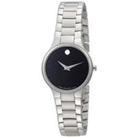 Womens Movado Serio Stainless Steel Black Dial